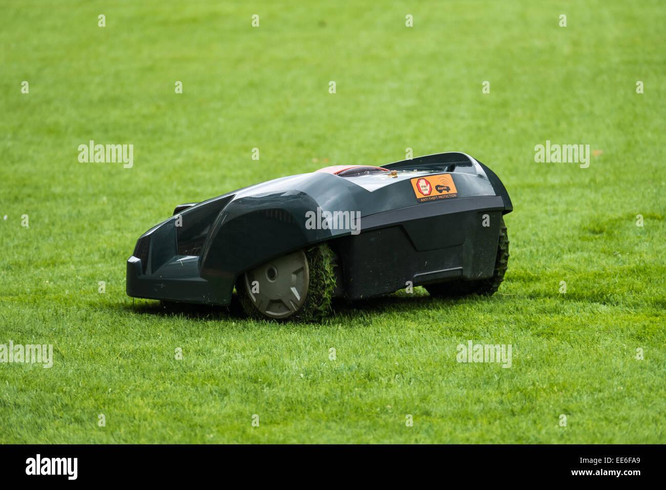 Lawn Mower Robot Stock Photo