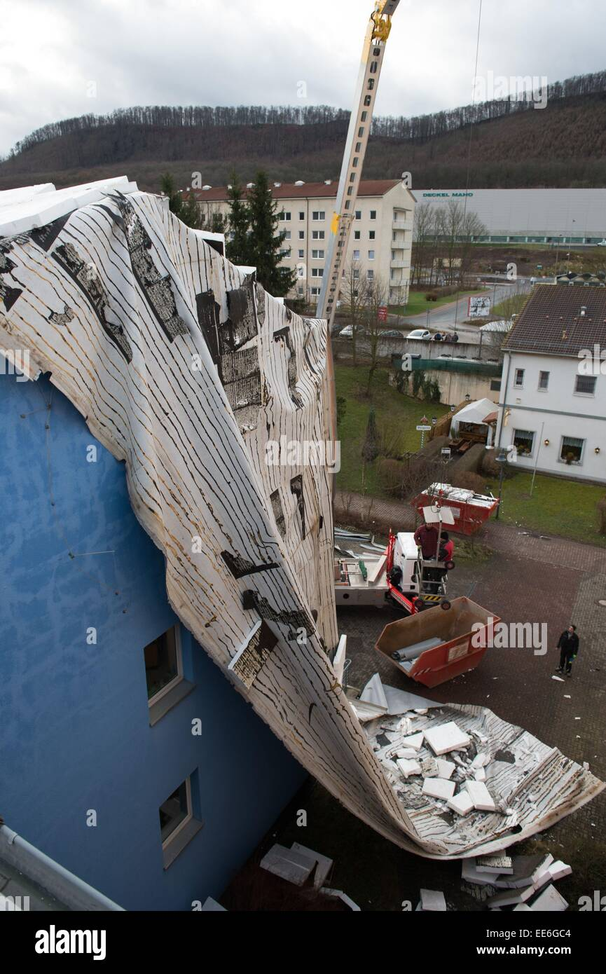 Seebach, Germany. 14th Jan, 2015. A gusty storm front took off the roof of the Regel school at Seebach, Germany, - Stock Image