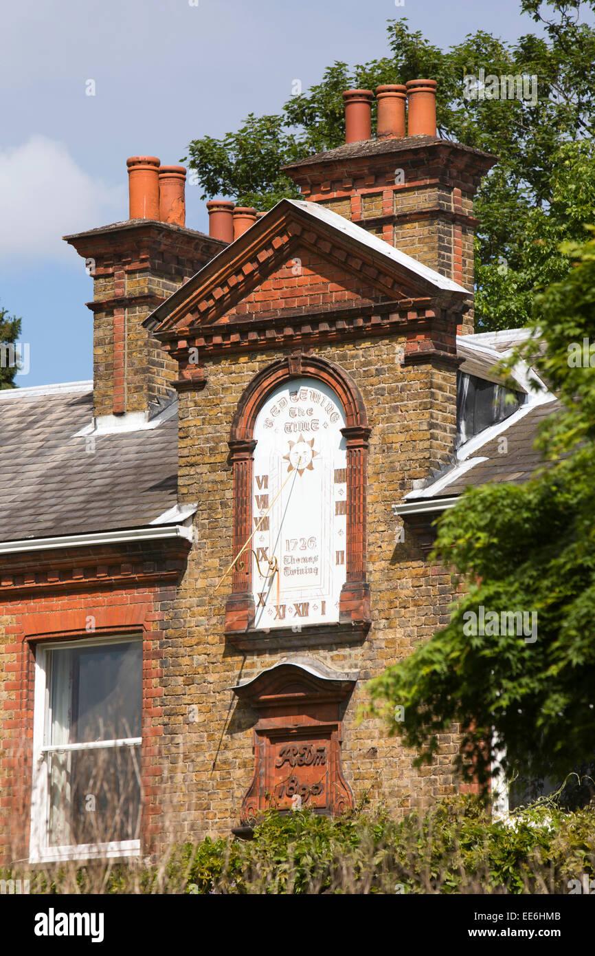 UK, London, Twickenham, riverside Dial House, former home of Twining family, the sundial - Stock Image