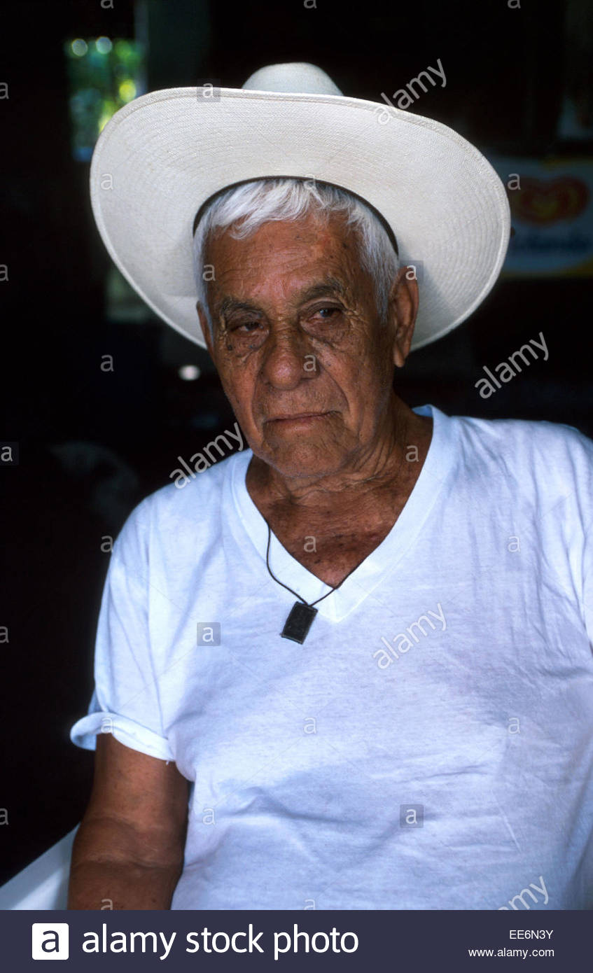 Mexcaltitan, Old man's portrait - Stock Image