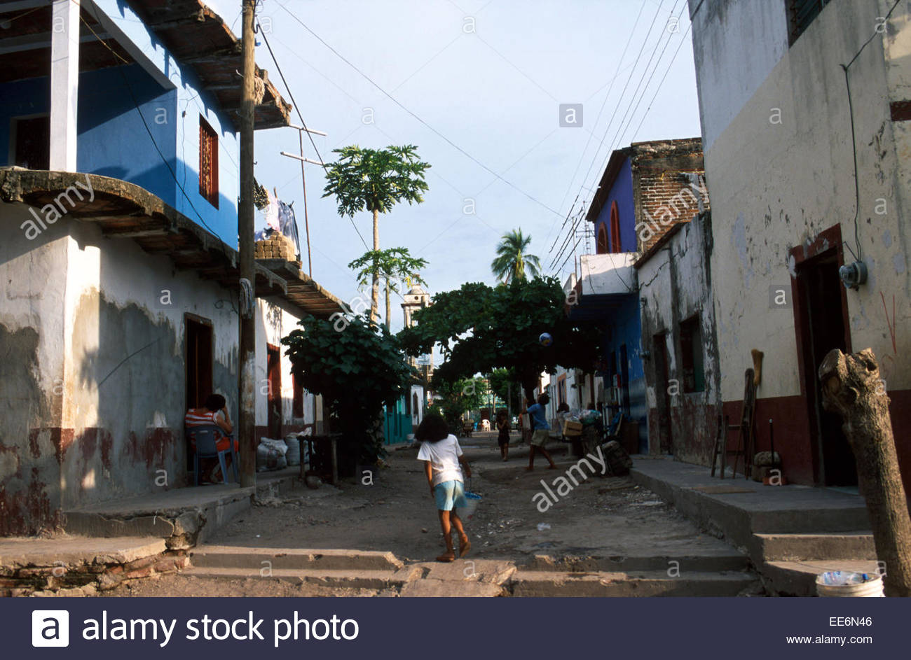 Mexcaltitan, Street in the village - Stock Image