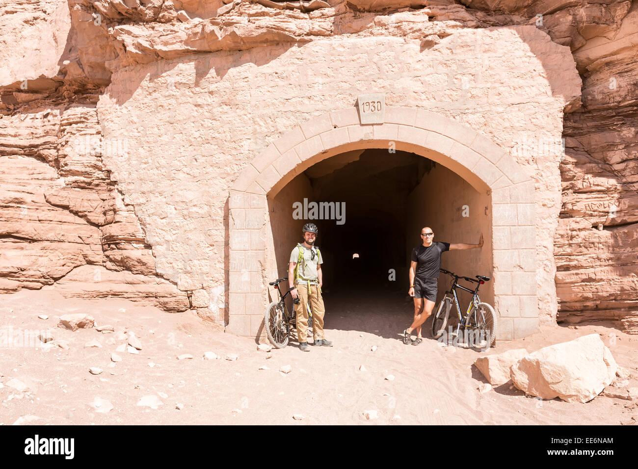 A tunnel through the mountain in San Pedro de Atacama, Chile, South America - Stock Image