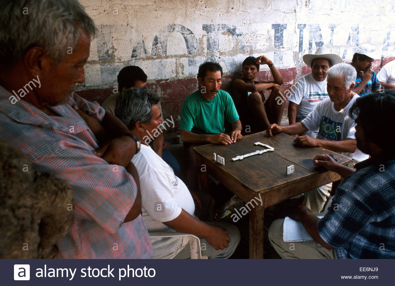 Mexcaltitan, Men playing dominos in one of the streets of the village - Stock Image