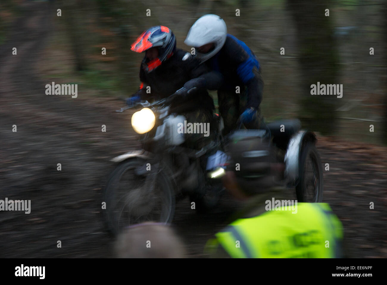 Motorcycle competitors on the Fingle Section of the 2013 Exeter Trial Stock Photo
