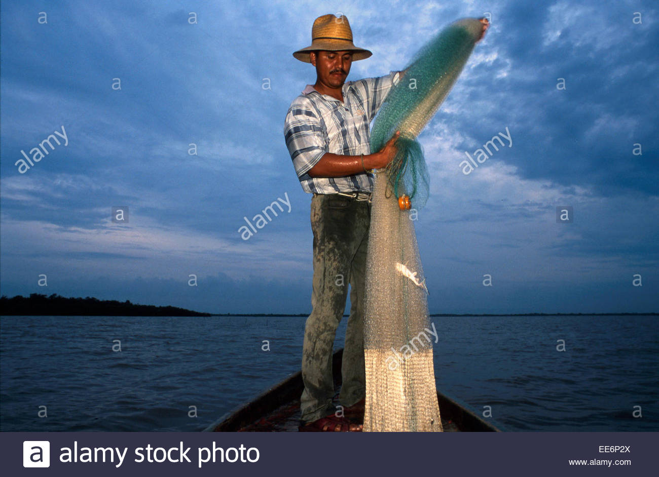 Mexcaltitan, Fisherman in the lagoon - Stock Image