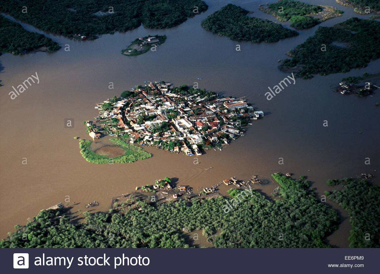 Aerial view of Mexcaltitan island - Stock Image