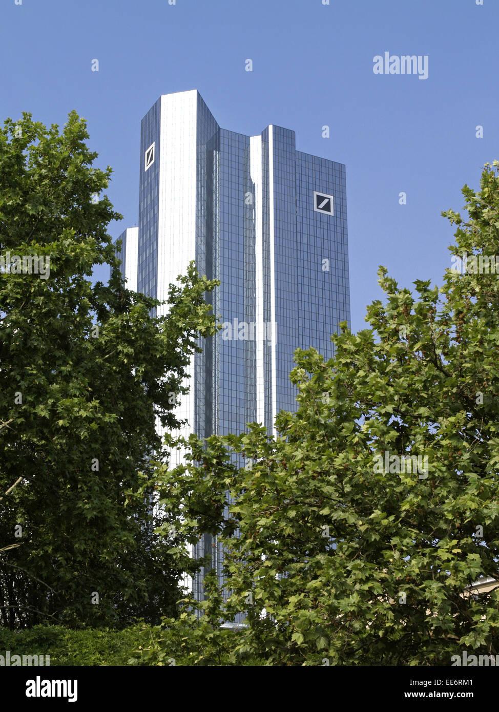 Deutschland, Hessen, Frankfurt am Main, Geschaeftsviertel, Bankhochhaeuser, Europa, Westdeutschland, Weltstadt, - Stock Image
