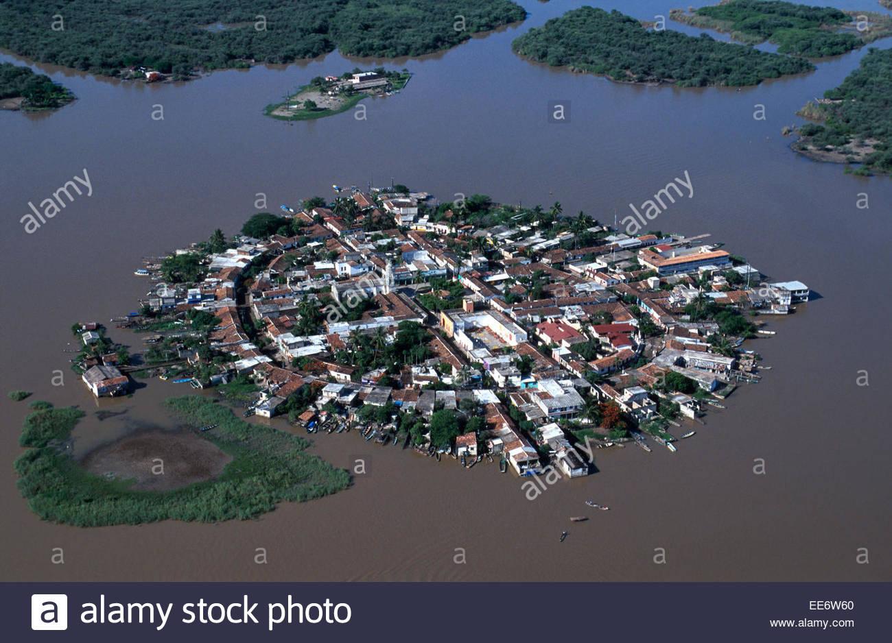 Aerial view of Mexcaltitan island Stock Photo