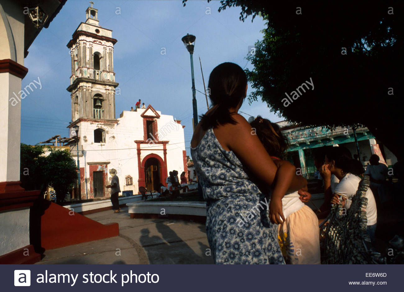 Mexcaltitan, The village square - Stock Image
