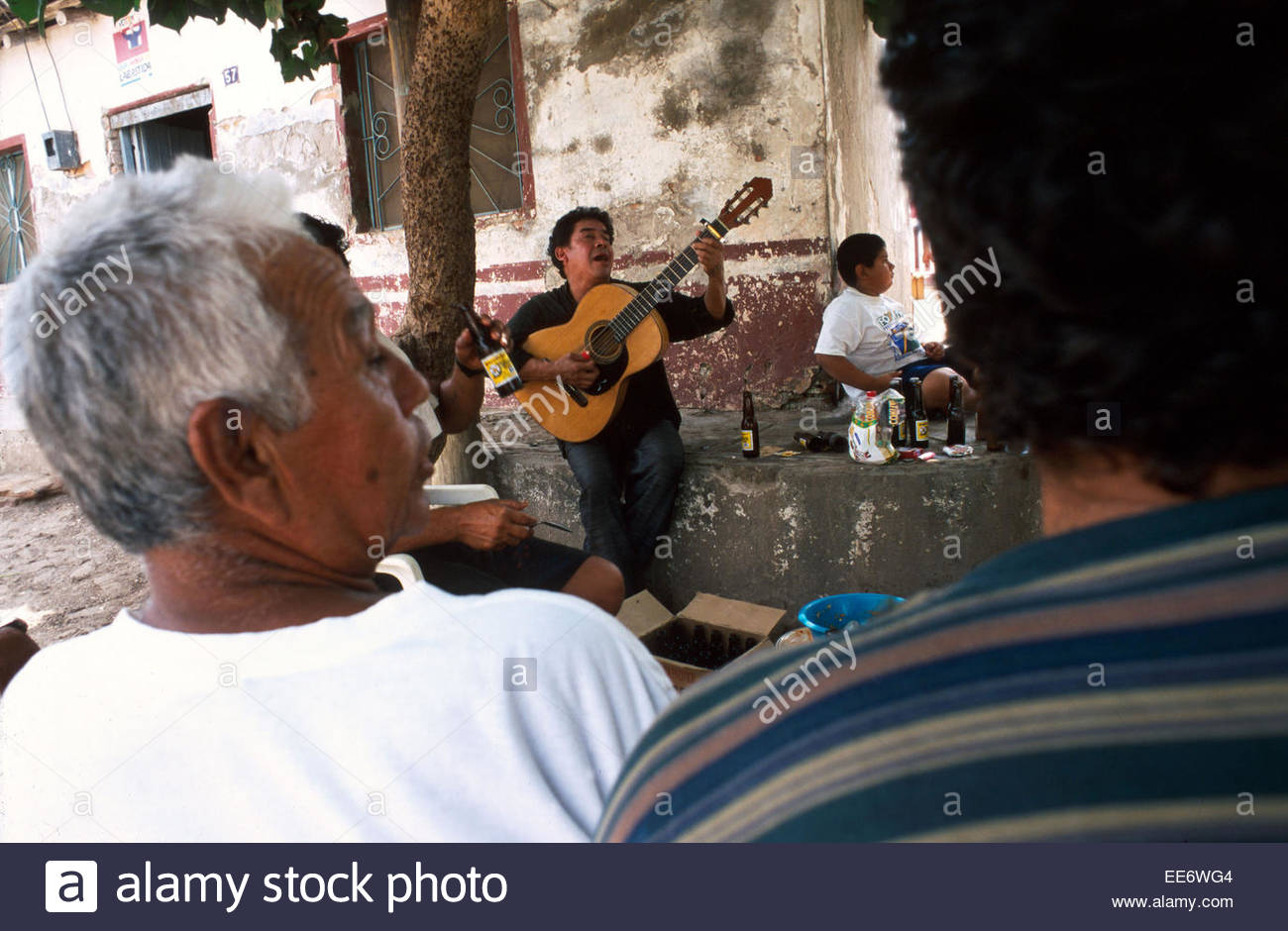 Mexcaltitan, A street musician performing - Stock Image