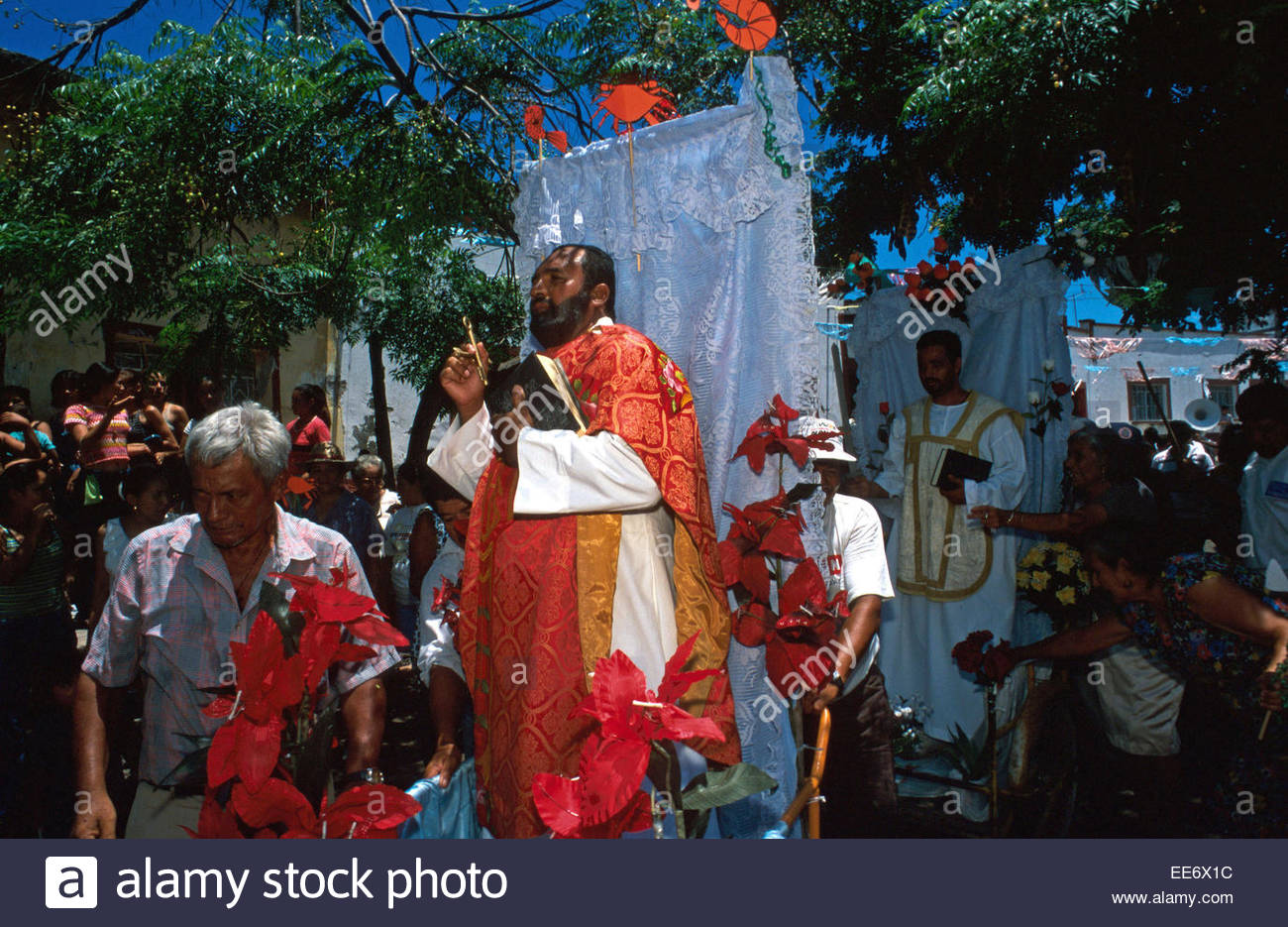 Mexcaltitan, Procession celebrating the island's patron Saint - Stock Image