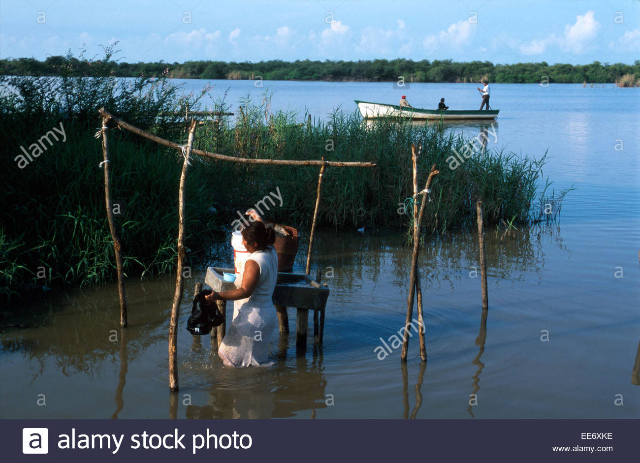 Mexcaltitan, Clothes washing in the lagoon - Stock Image