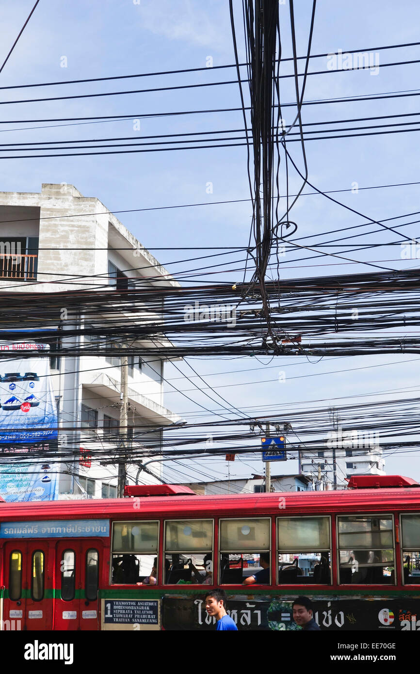 Electrical cabling gone wild, Cable clutter, Bangkok, Thailand. Southeast Asia. - Stock Image