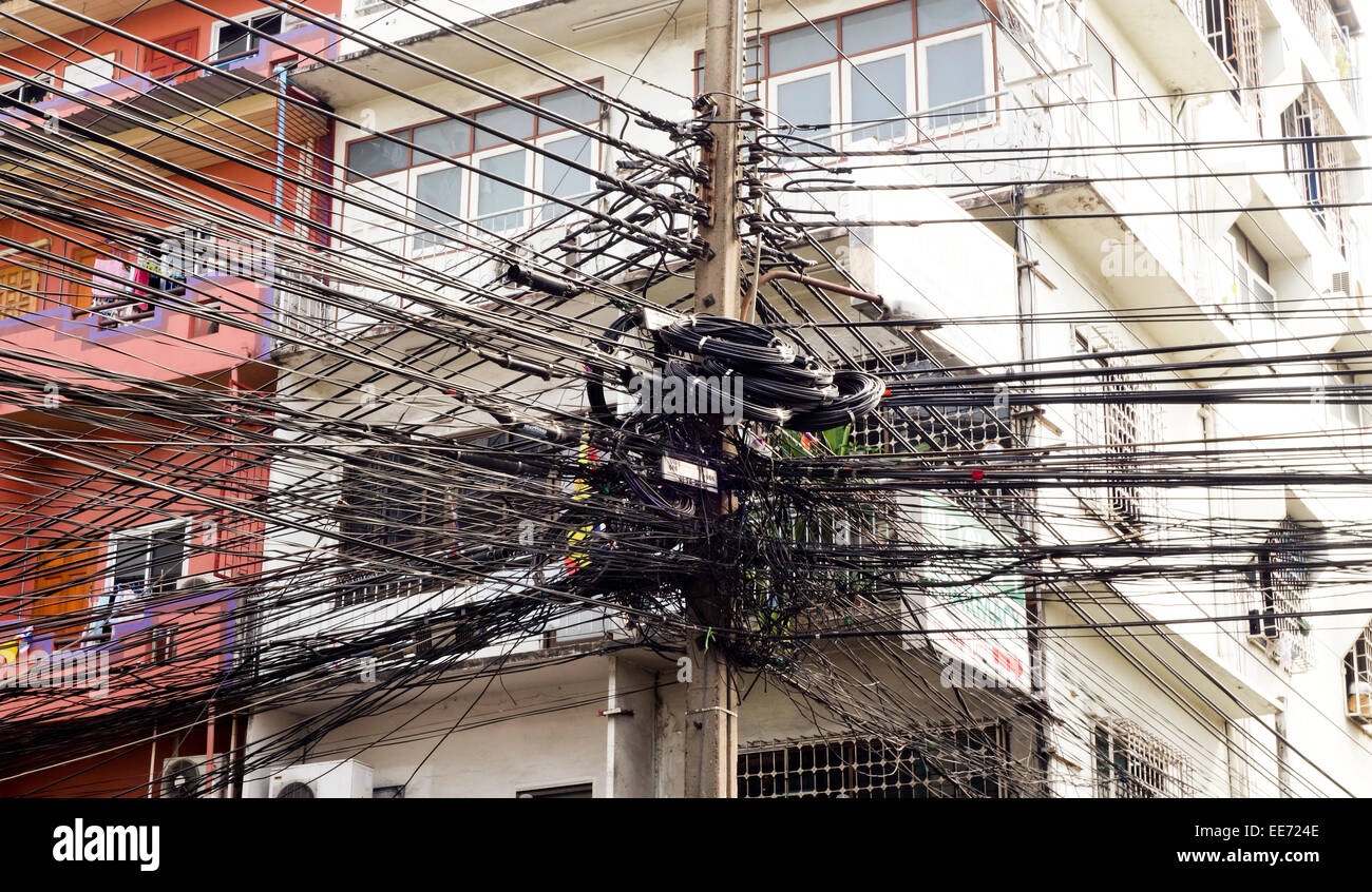 Electrical Cabling Gone Wild  Cable Clutter  Bangkok