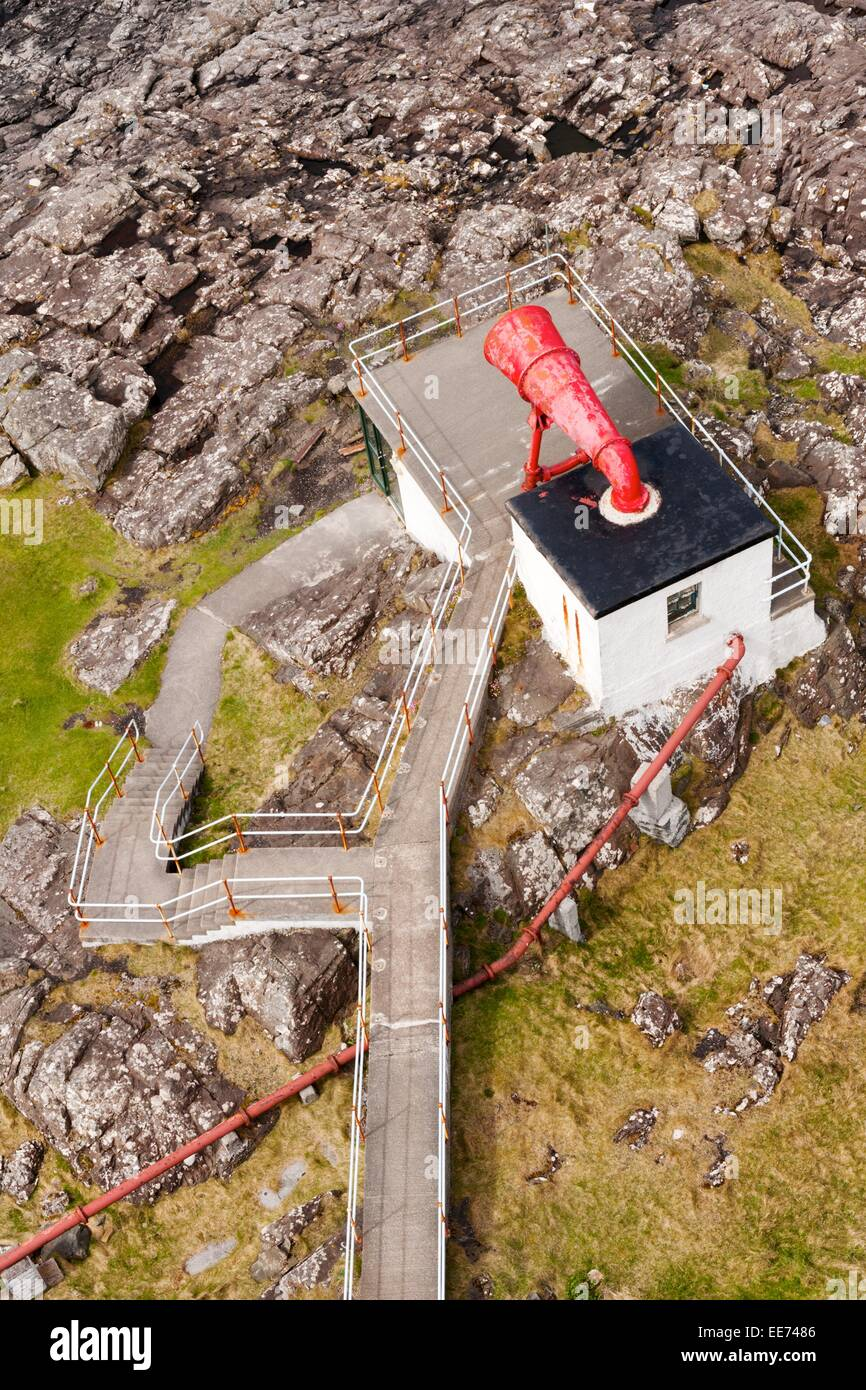 The original fog horn at the Ardnamurchan lighthouse, pictured from the top of the lighthouse tower. - Stock Image