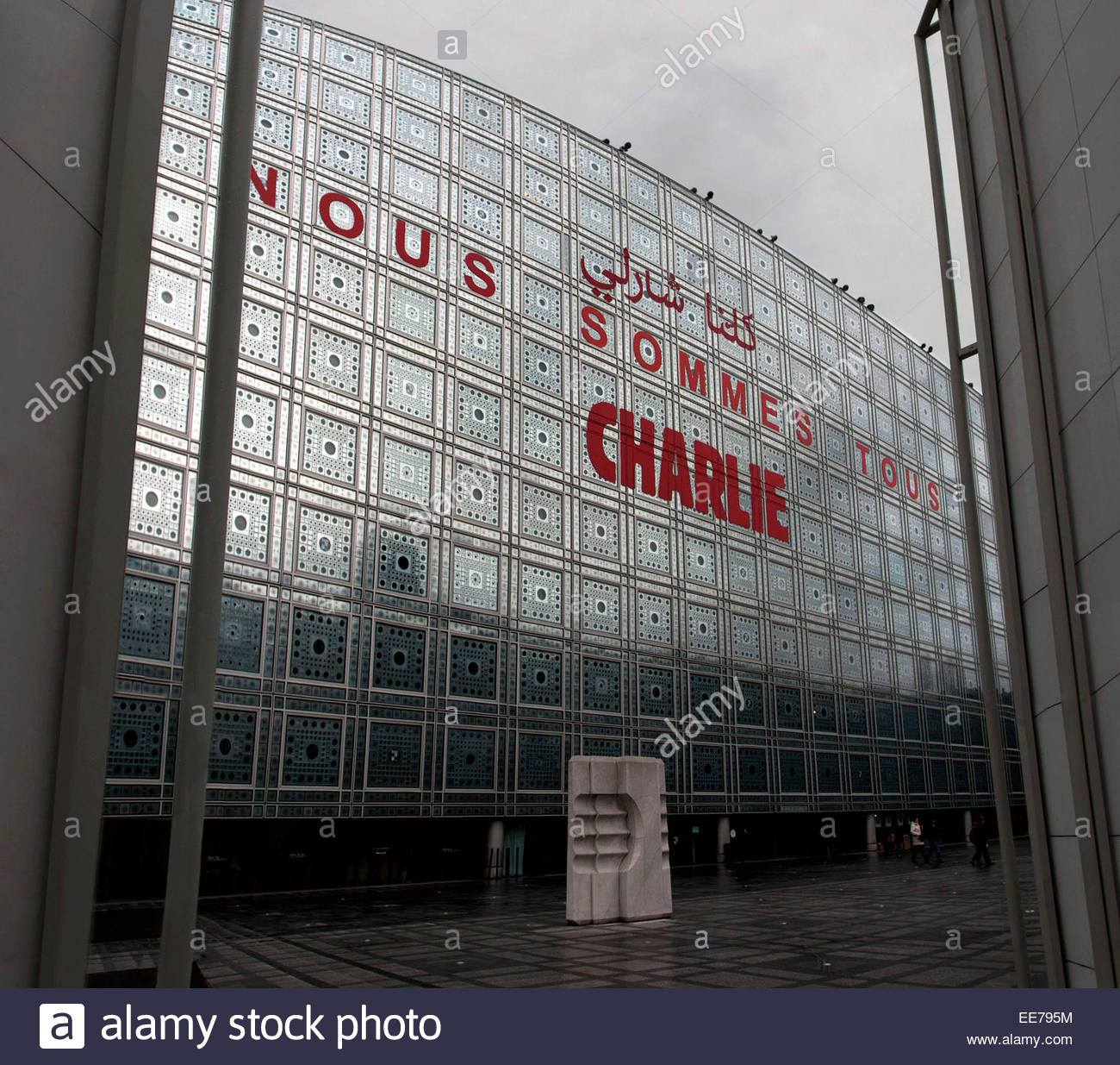 Paris, inscription '' We are all Charlie '' on the building of the Institut du Monde Arabe (Institute - Stock Image