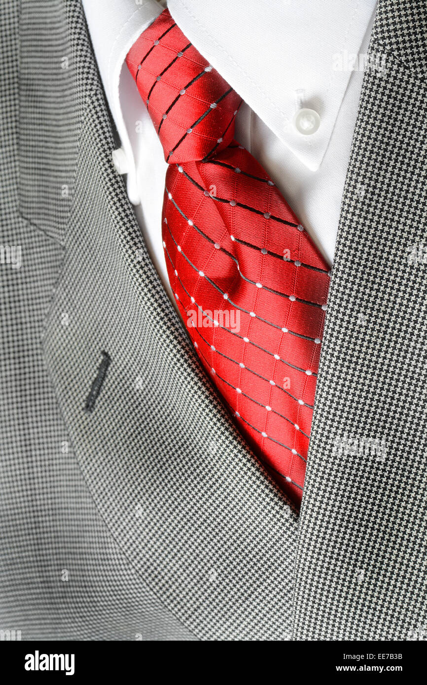 White Dress Shirt With Red Tie And Suit Jacket Detailed Closeup
