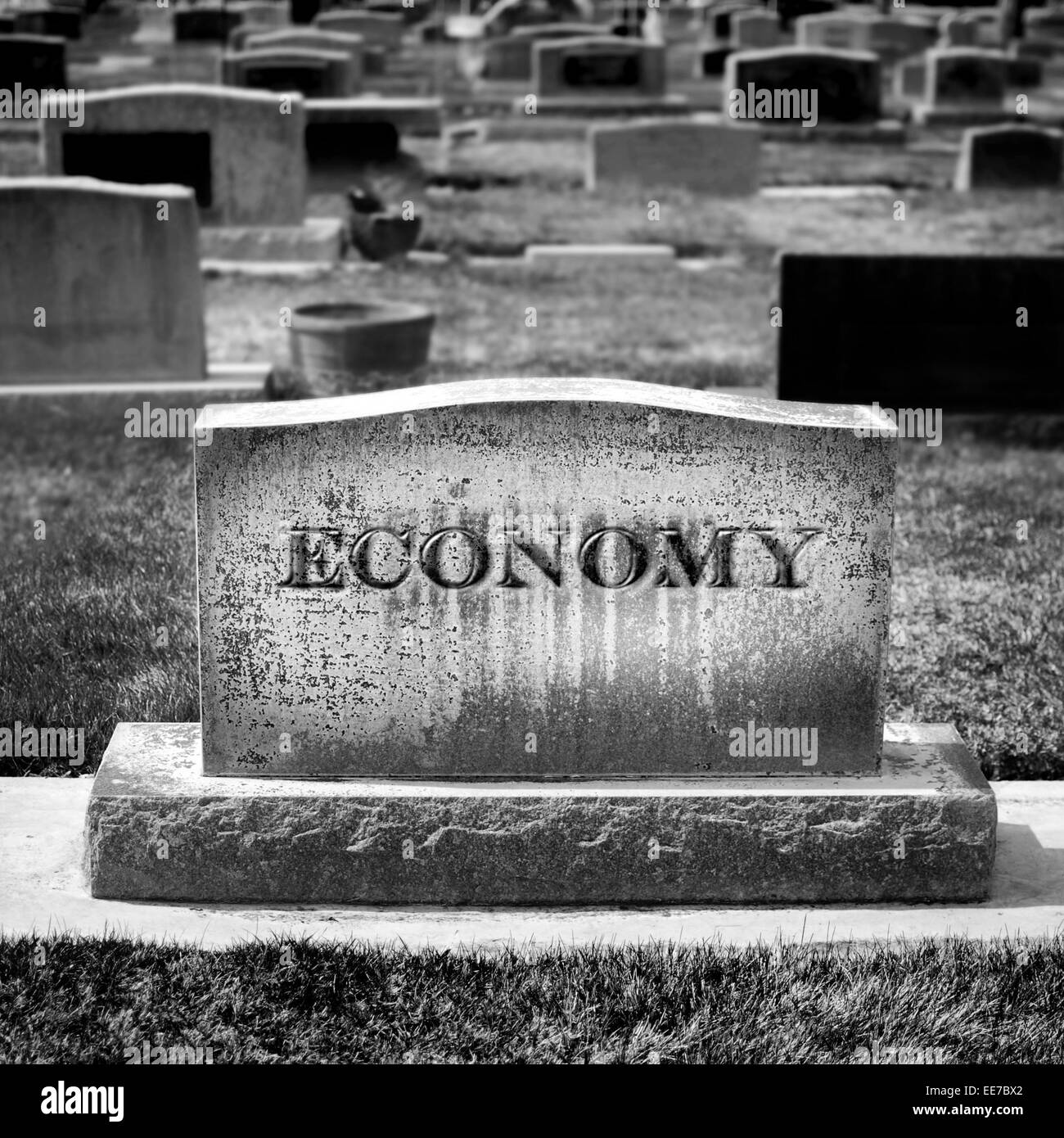 Gravestone for Economy and Investments - Stock Image