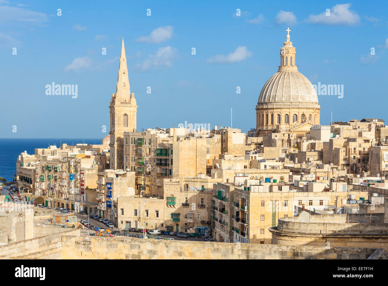 Valletta Skyline with the Dome of the Carmelite Church and St Pauls Anglican Cathedral Valletta Malta EU Europe - Stock Image