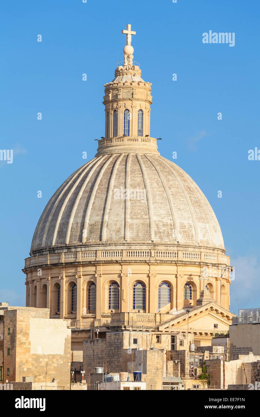 Dome of the Carmelite Church Valletta Malta EU Europe - Stock Image