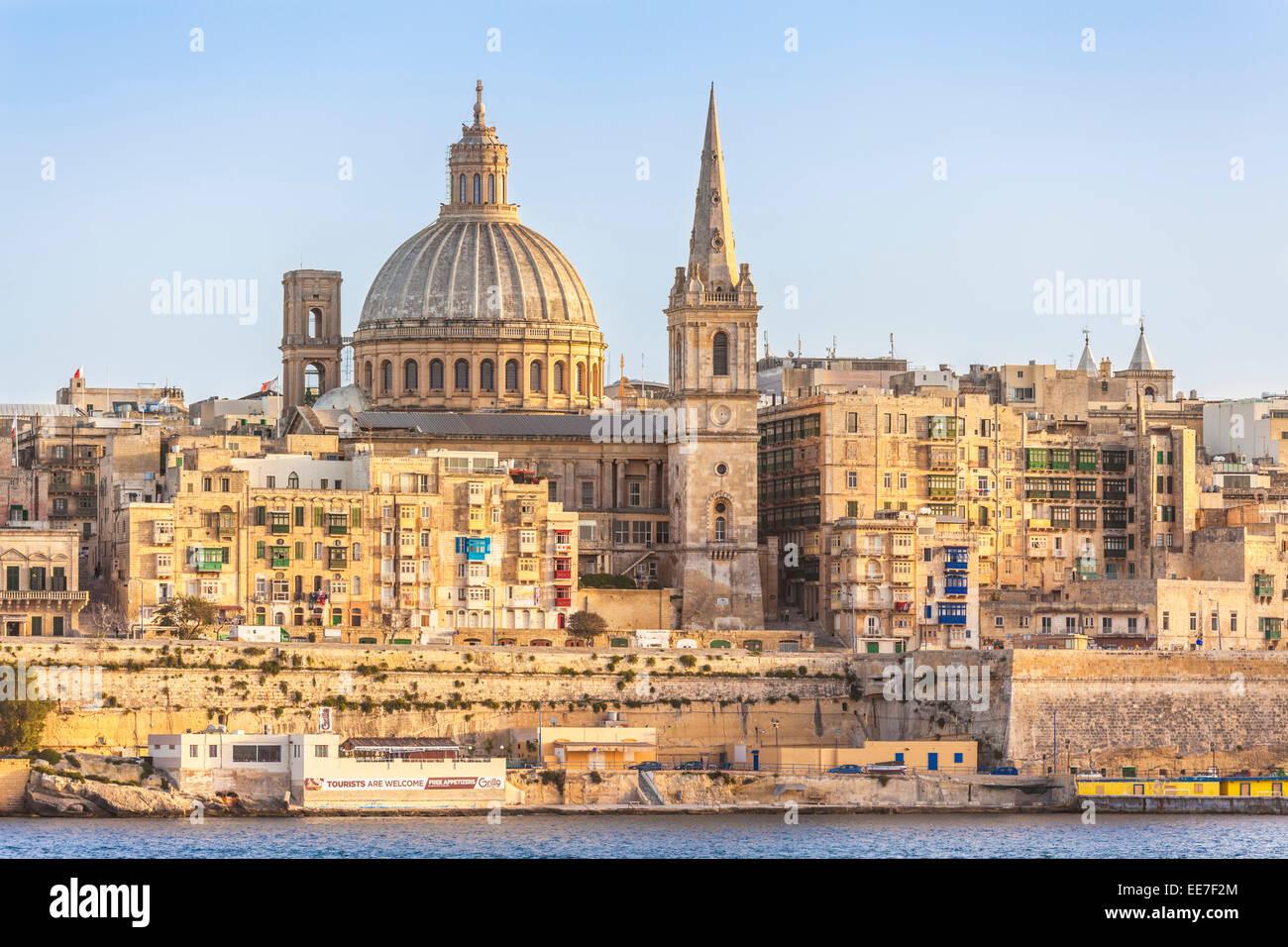 Valletta Skyline and waterfront Marsamxett Harbour Valletta Malta EU Europe - Stock Image