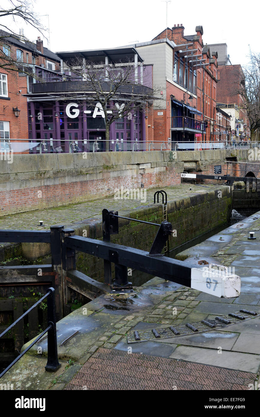 Rochdale Canal which runs beside Canal Street in Manchester through the Gay Village. A spate of 61 deaths in 3 years - Stock Image