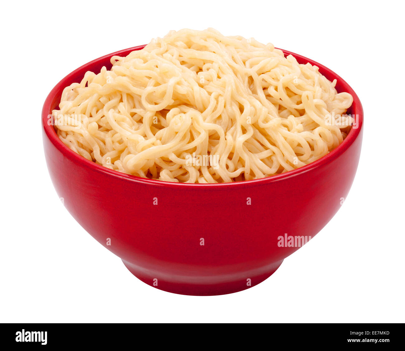 Ramen Noodles in a Red Bowl. Isolated on white, the image is in full focus, front to back. - Stock Image