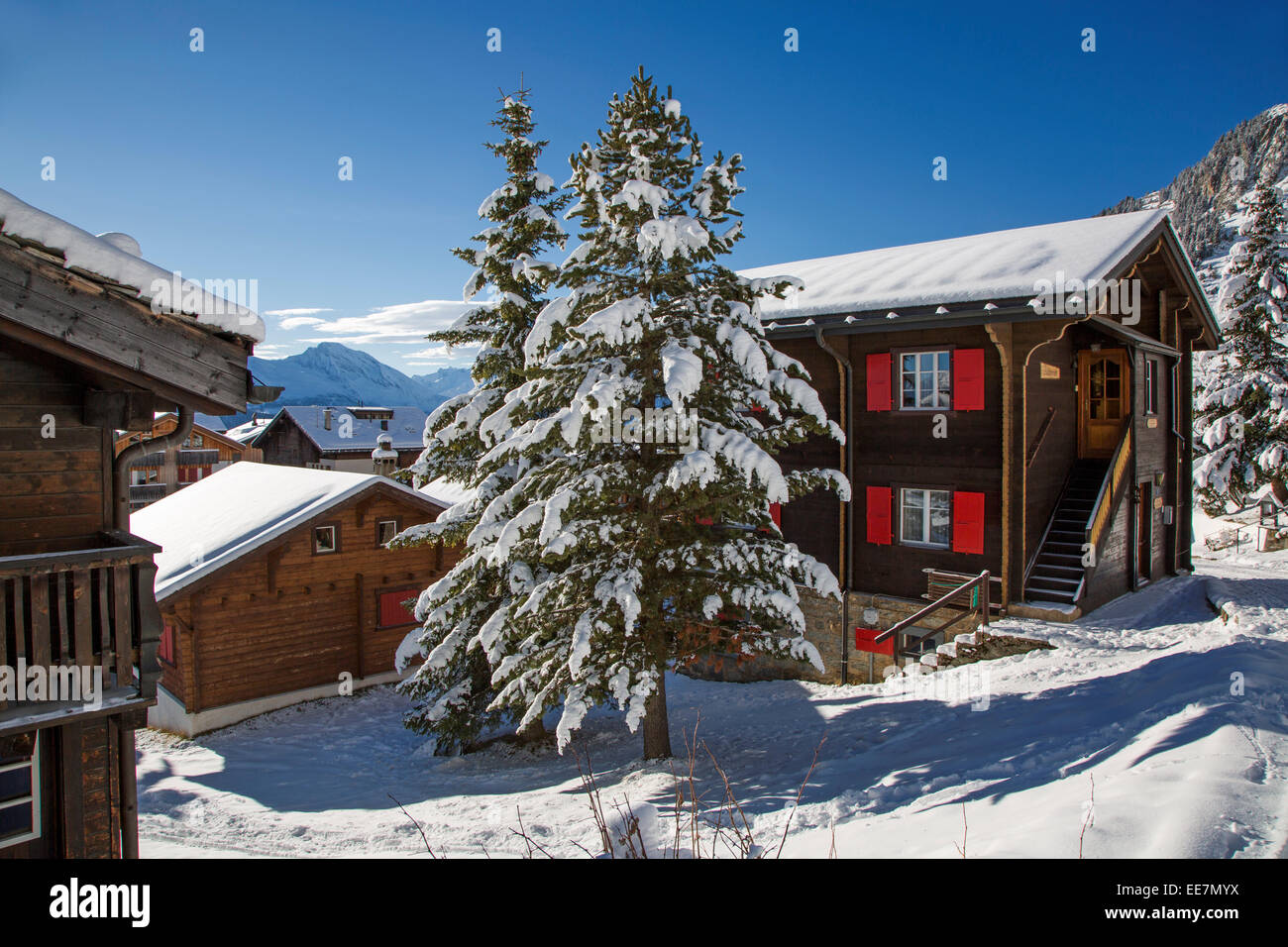 Swiss wooden chalets in the snow in winter in the Alps, Wallis / Valais, Switzerland - Stock Image