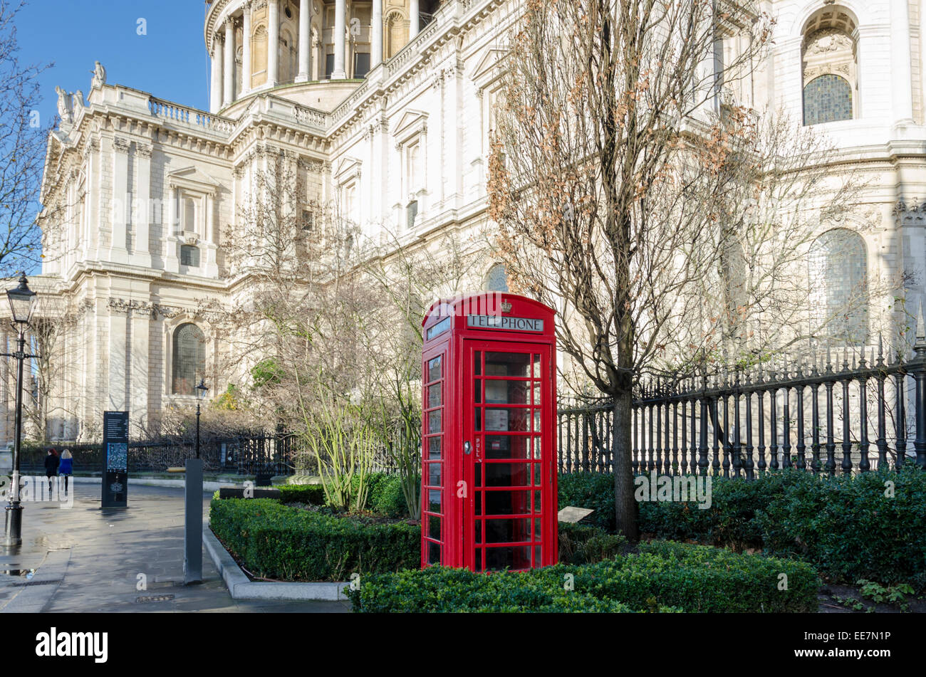 Red telephone box next to St Paul's Cathedral. London, UK - Stock Image