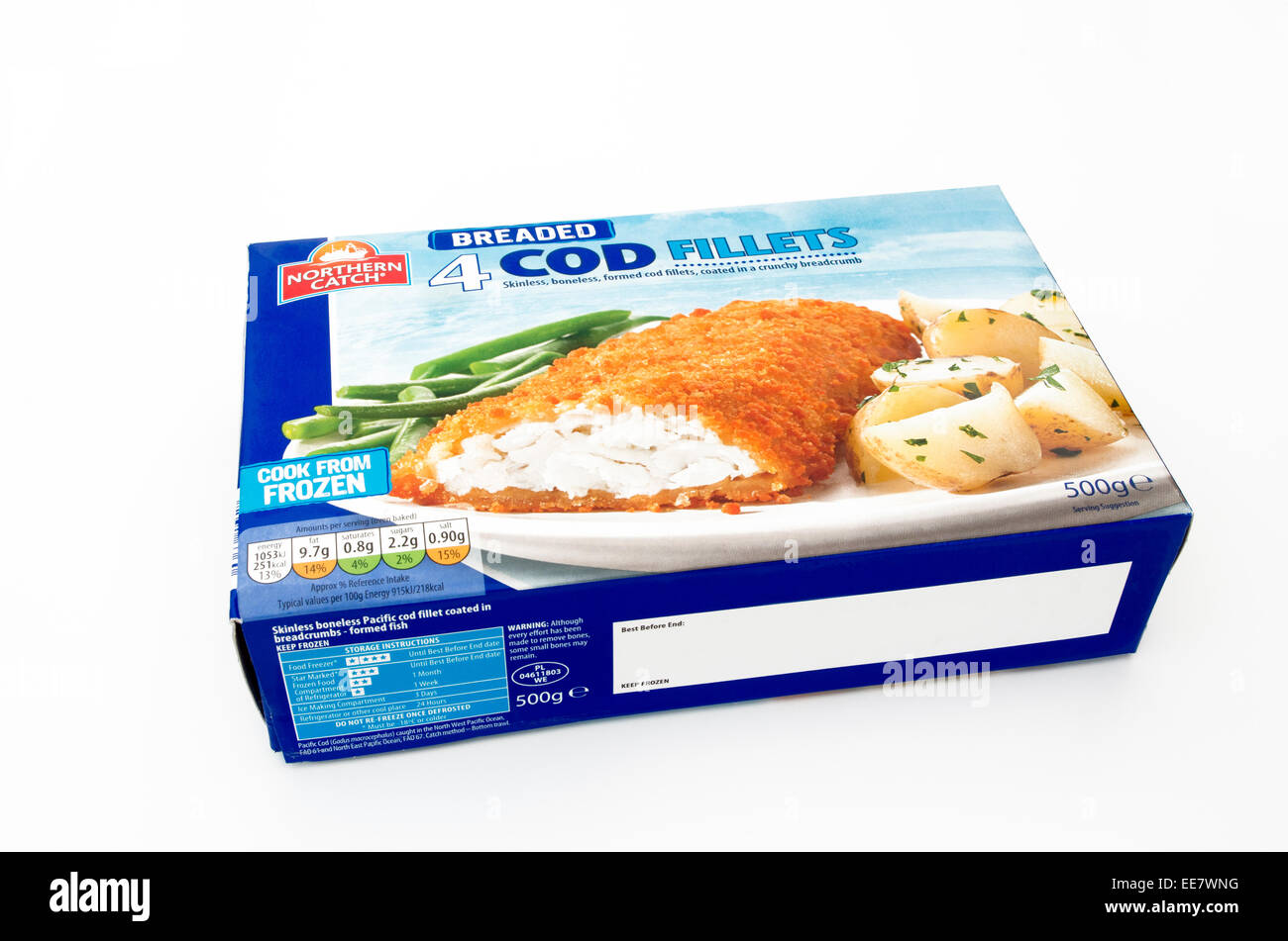 Northern Catch Brand of Breaded Cod Fillets, UK - Stock Image