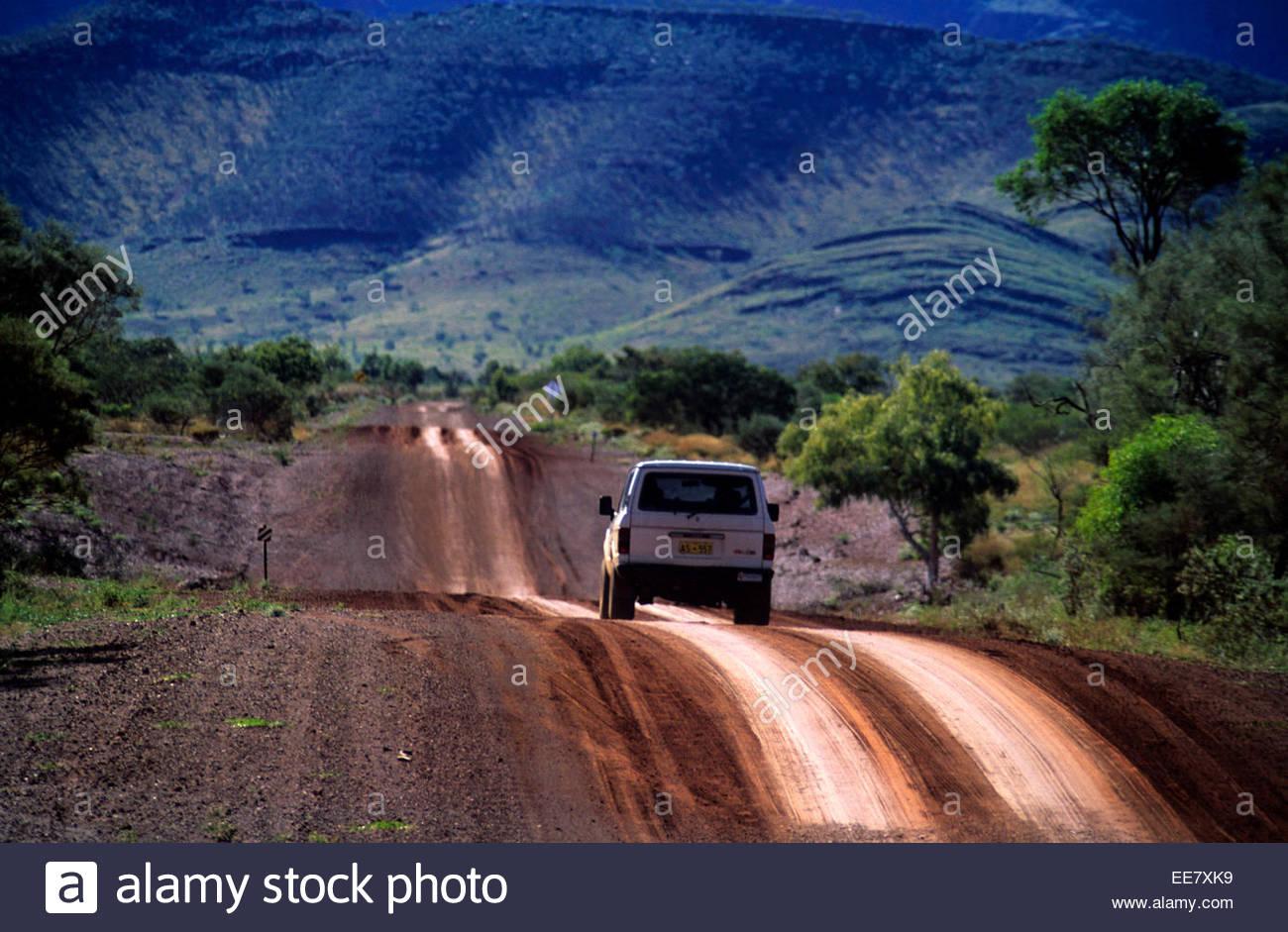 A jeep in the Karijini National Park, Australia. - Stock Image
