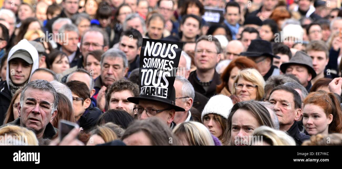 Mayenne People Meets In The Je Suis Charlie Vigil At Laval City Jet Stock Photo Alamy