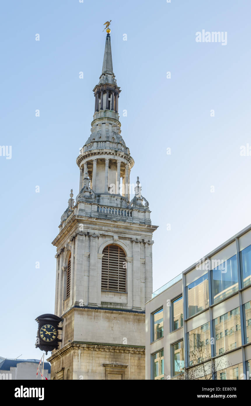 St Spire of Mary-le-Bow Church. Cheapside, London. - Stock Image