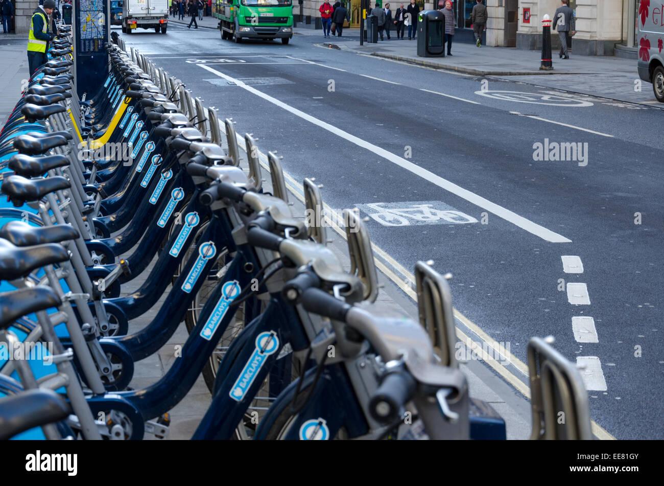 Borris Bikes on Cheapside, London, UK. - Stock Image