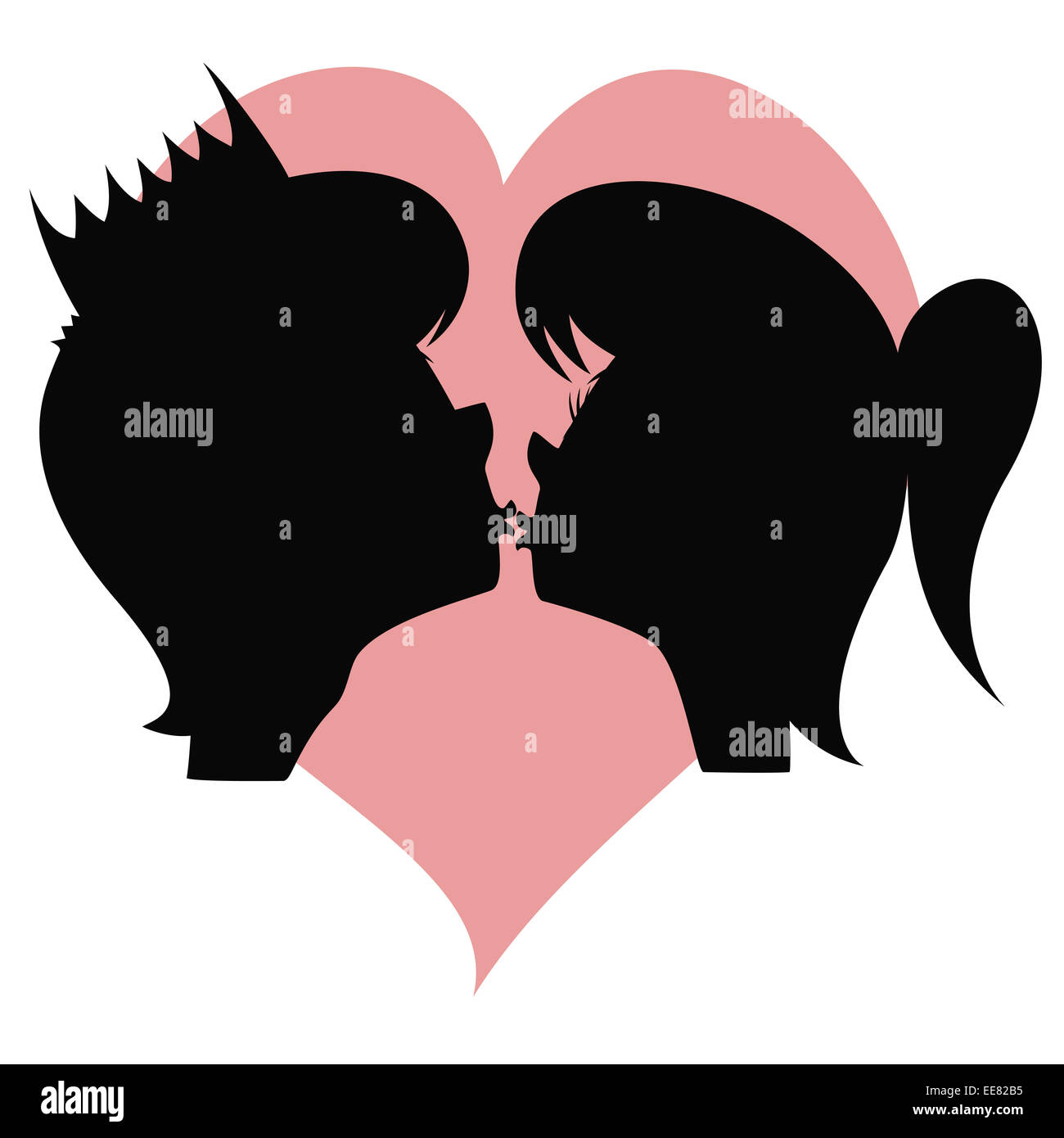 A pretty long haired girl's and a handsome prince's silhouette are about to kiss each other in front of - Stock Image