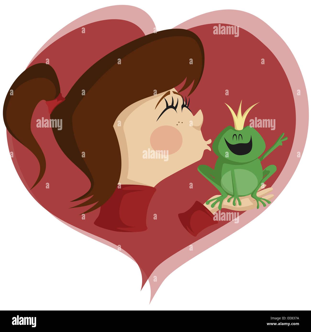 Brunette girl kisses a happy frog prince - Stock Image