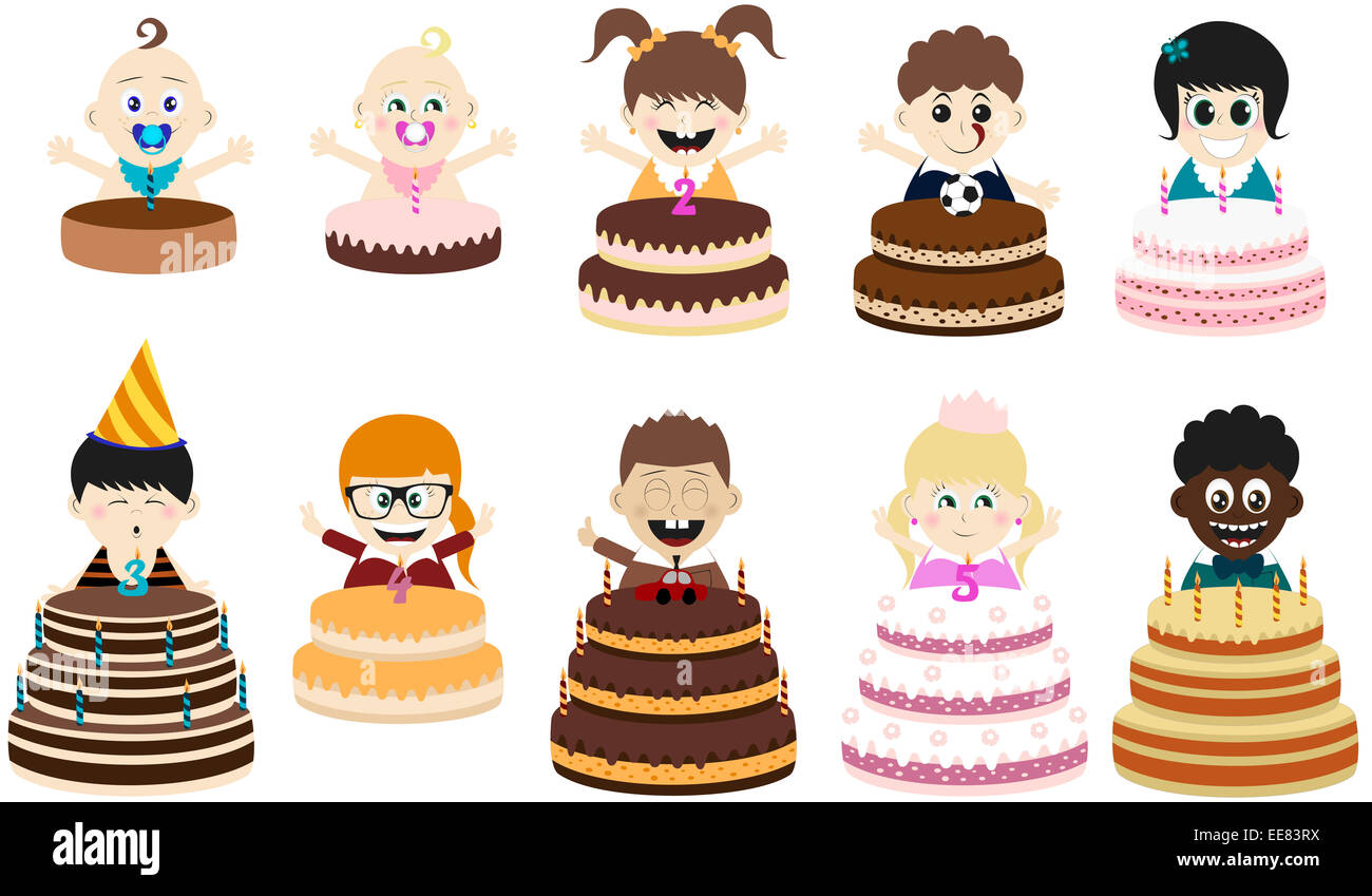 Big Cartoon Birthday Cake Child Stock Photos Big Cartoon Birthday