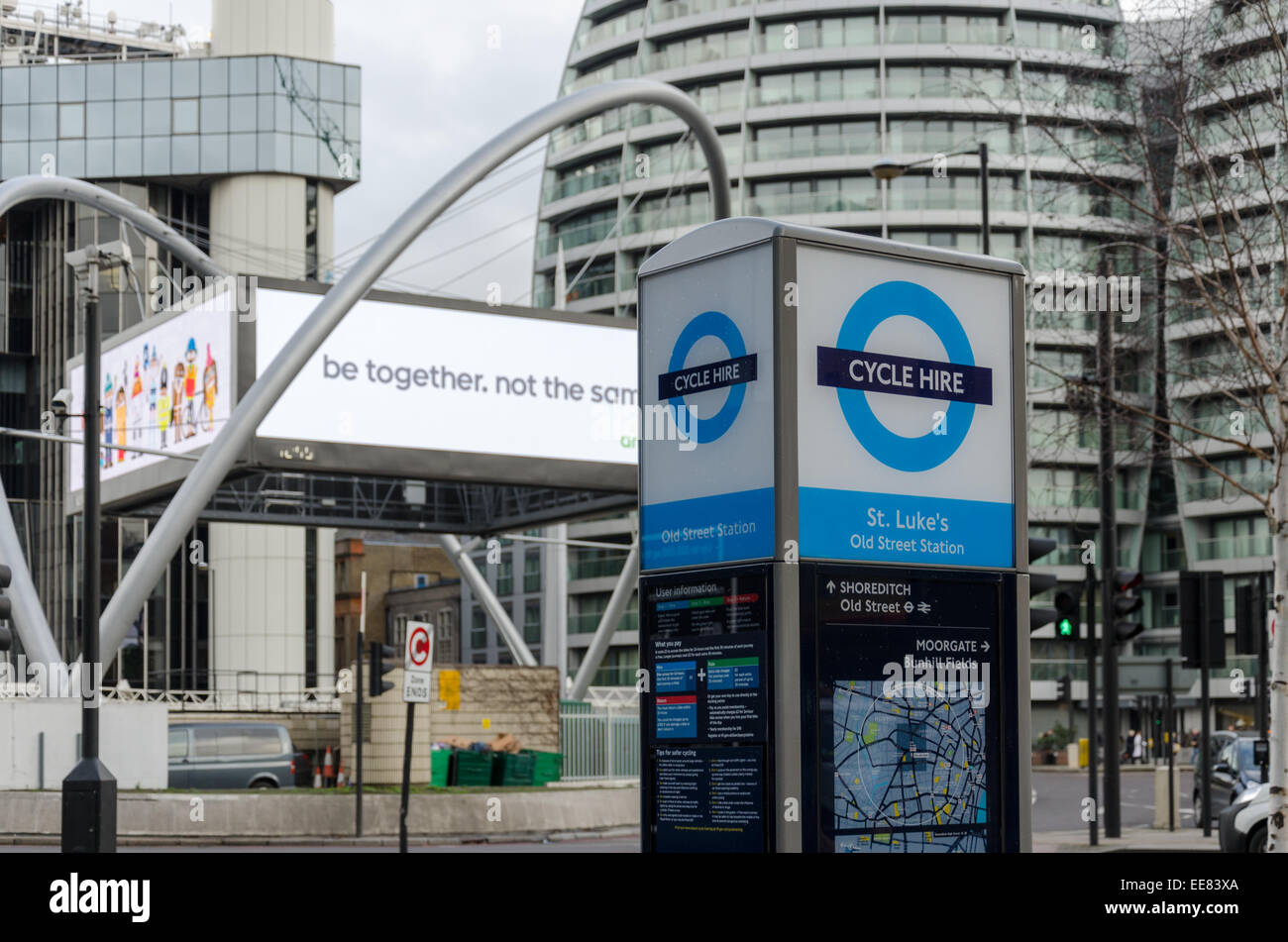 London Cycle Hire, locally known as 'Borris Bikes' at Old Street roundabout. London, UK - Stock Image