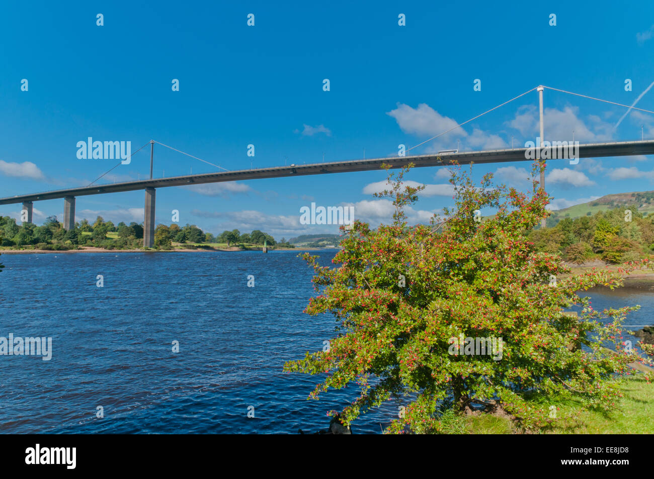 Erskine Bridge A898 Trunk Road  and River Clyde from Old Kilpatrick West Dunbartonshire Scotland with Kilpatrick - Stock Image