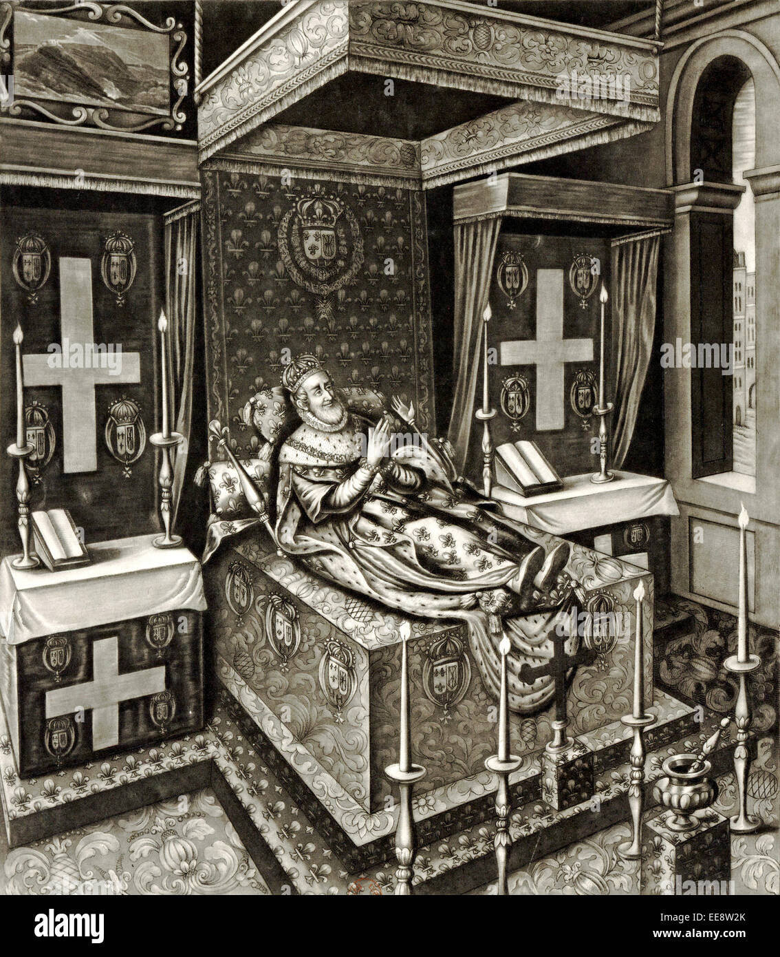 The most high puissant and excellent Prince Henry the Great, King of France as he lay in state after his murder Stock Photo
