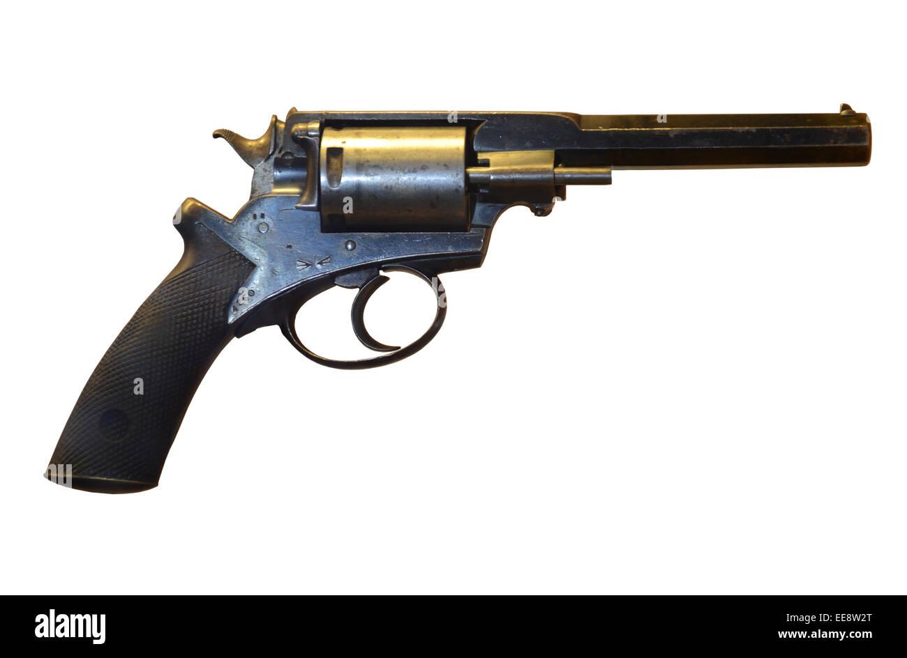 Adams Mark II revolver, gun, pistol on white background - Stock Image