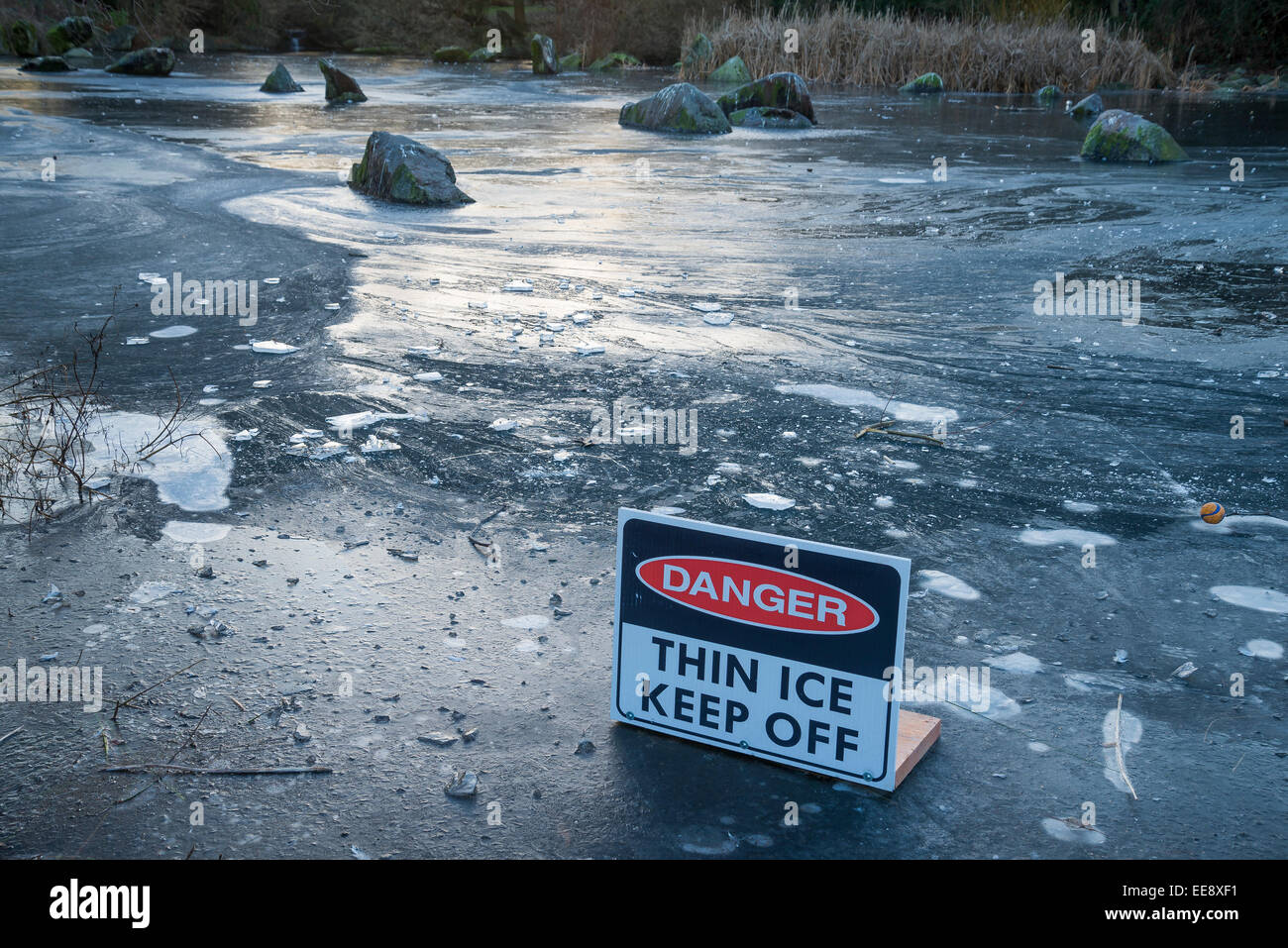 Danger Thin Ice sign, Charleson Park, Vancouver, British Columbia, Canada, - Stock Image
