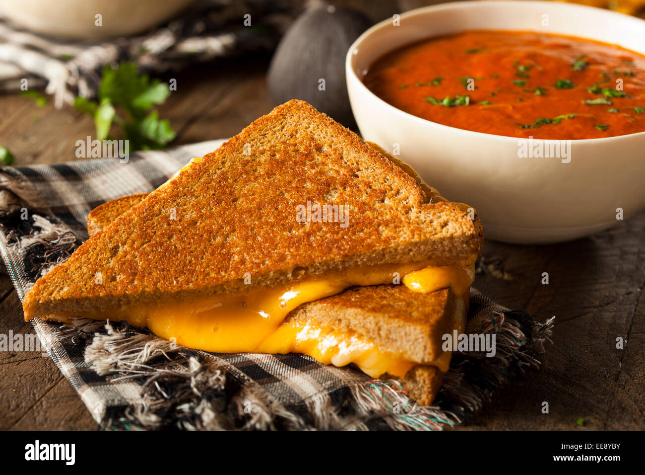 Homemade Grilled Cheese with Tomato Soup for Lunch Stock Photo