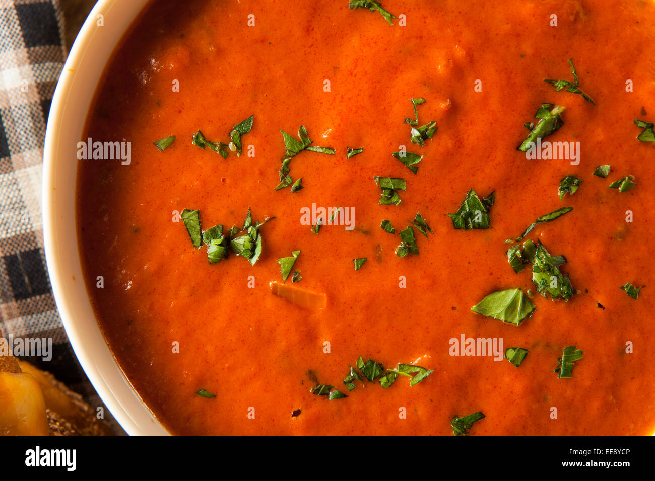 Homemade Tomato Soup with Grilled Cheese for Lunch Stock Photo