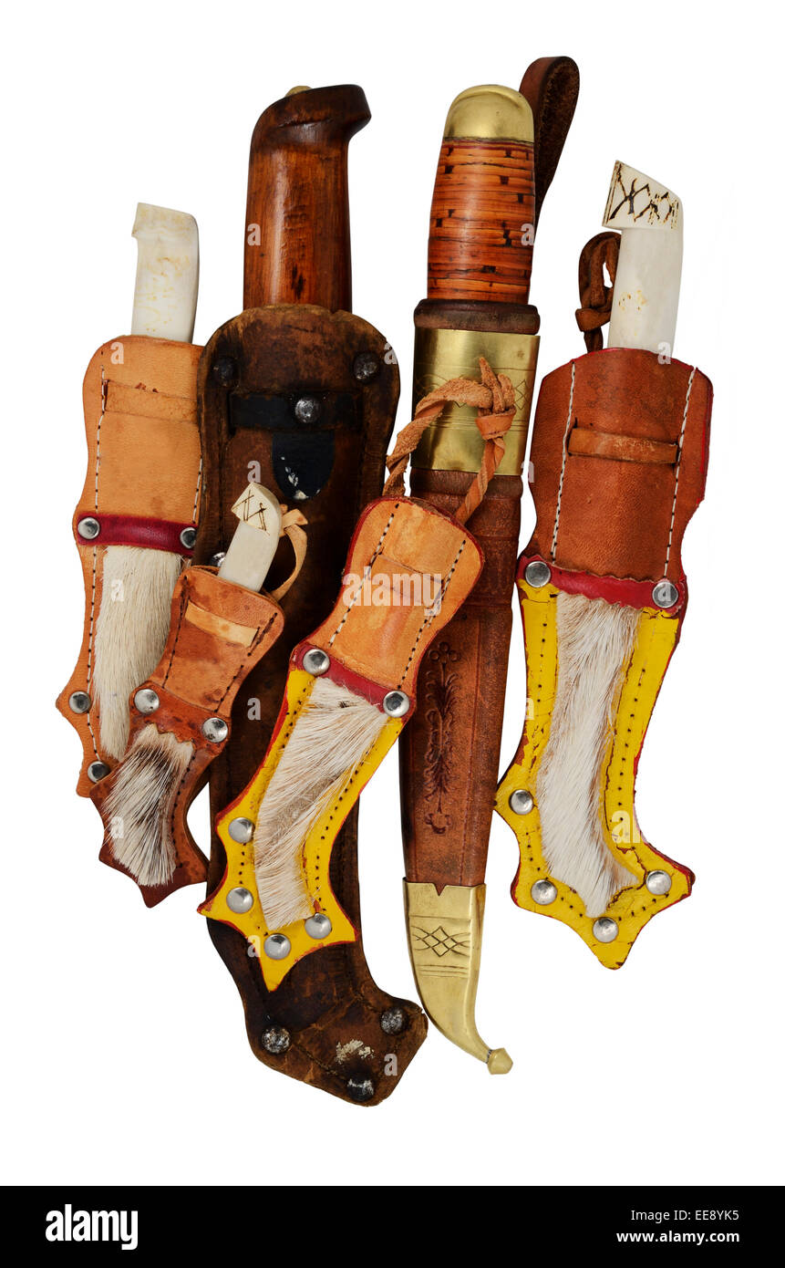 lot of traditional Finnish knife puukko on a white background Stock Photo