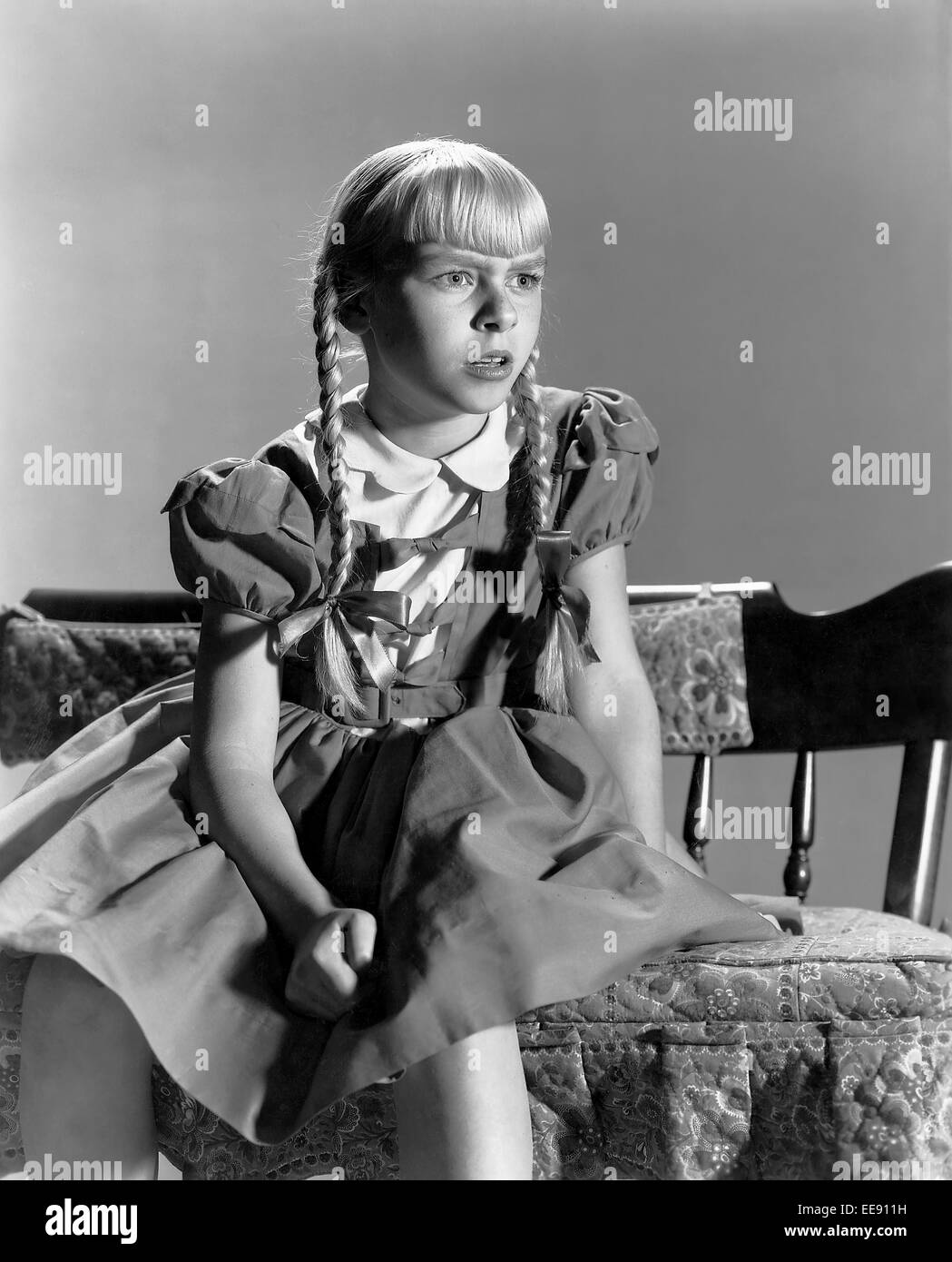 Patty McCormack, on-set of the film, 'The Bad Seed', 1956 - Stock Image