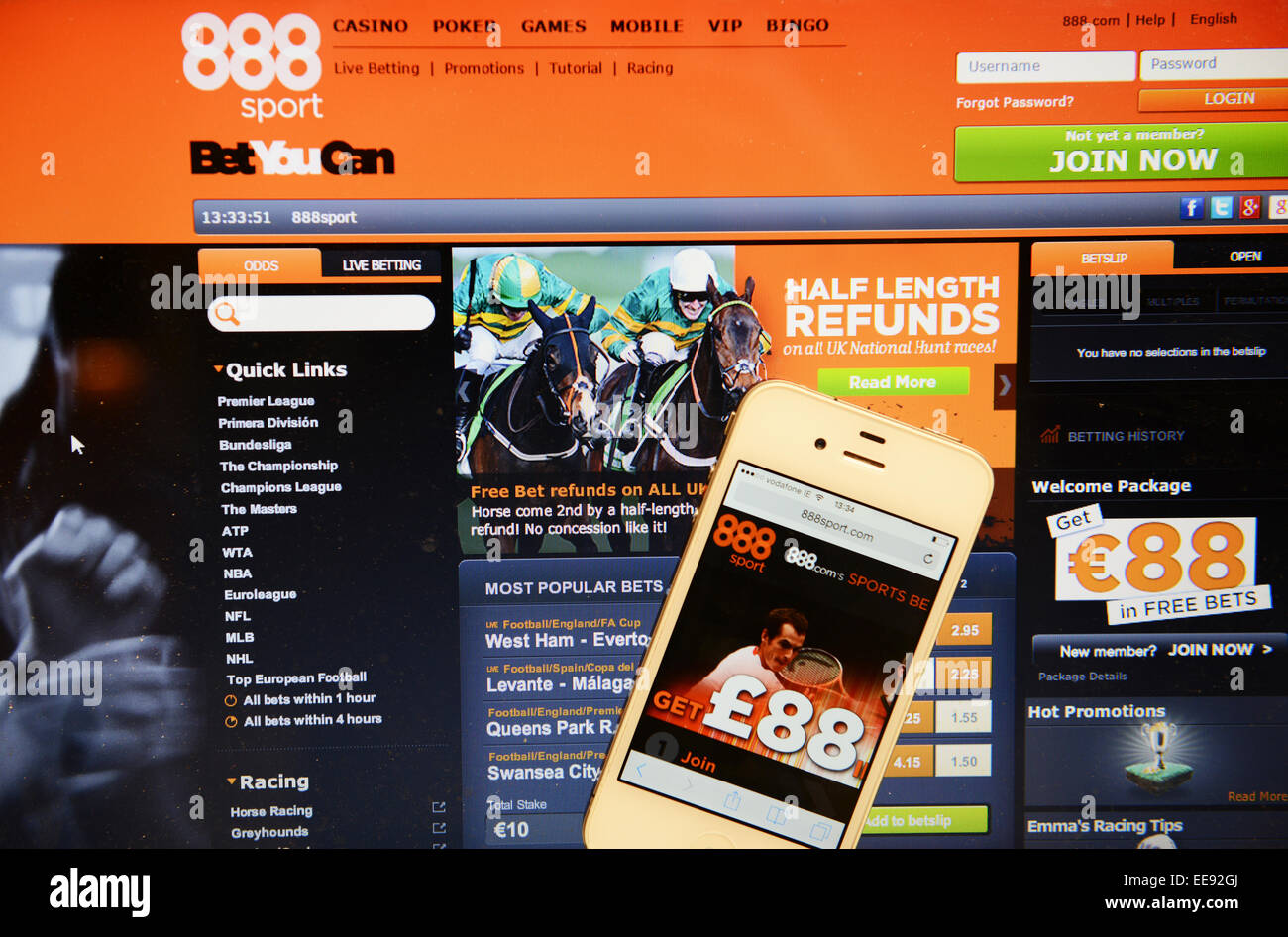 888 sport website and IPhone - Stock Image