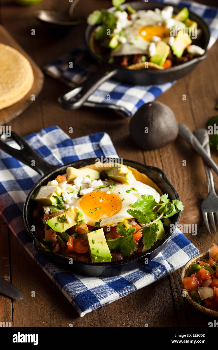 Homemade Heuvos Rancheros with Avocado and Cilantro - Stock Image