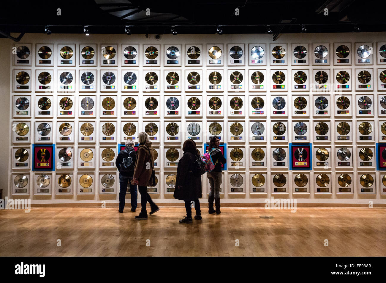 Museum Display Of Wall Of Gold Records At The Country