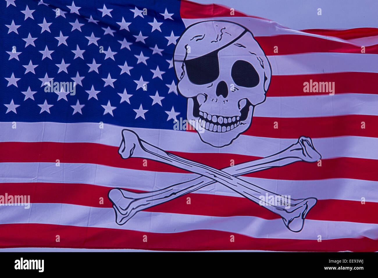 American Flag With Skull And Cross Bones